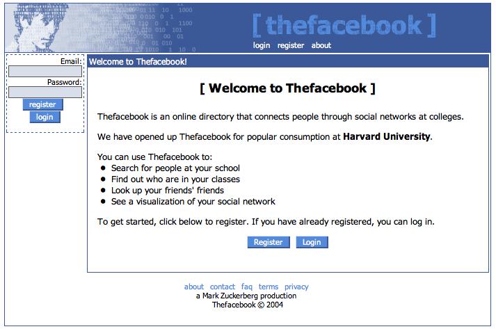 Early Facebook Screenshot