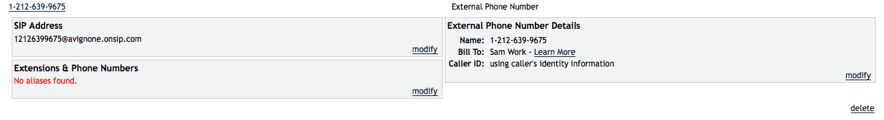 Select the external phone number in the OnSIP Admin Portal