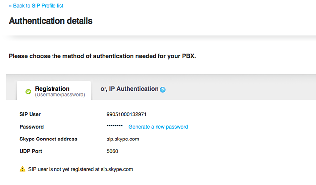 Skype authentication details