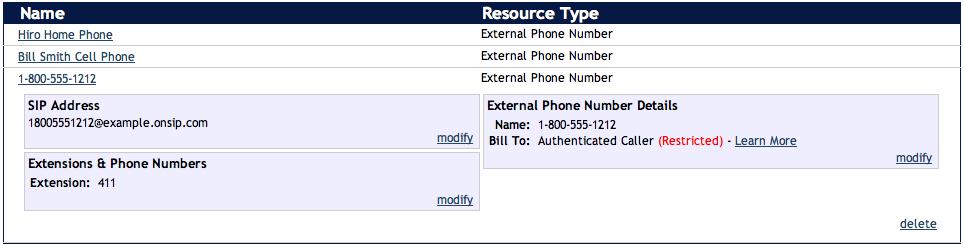 OnSIP External Phone Numbers