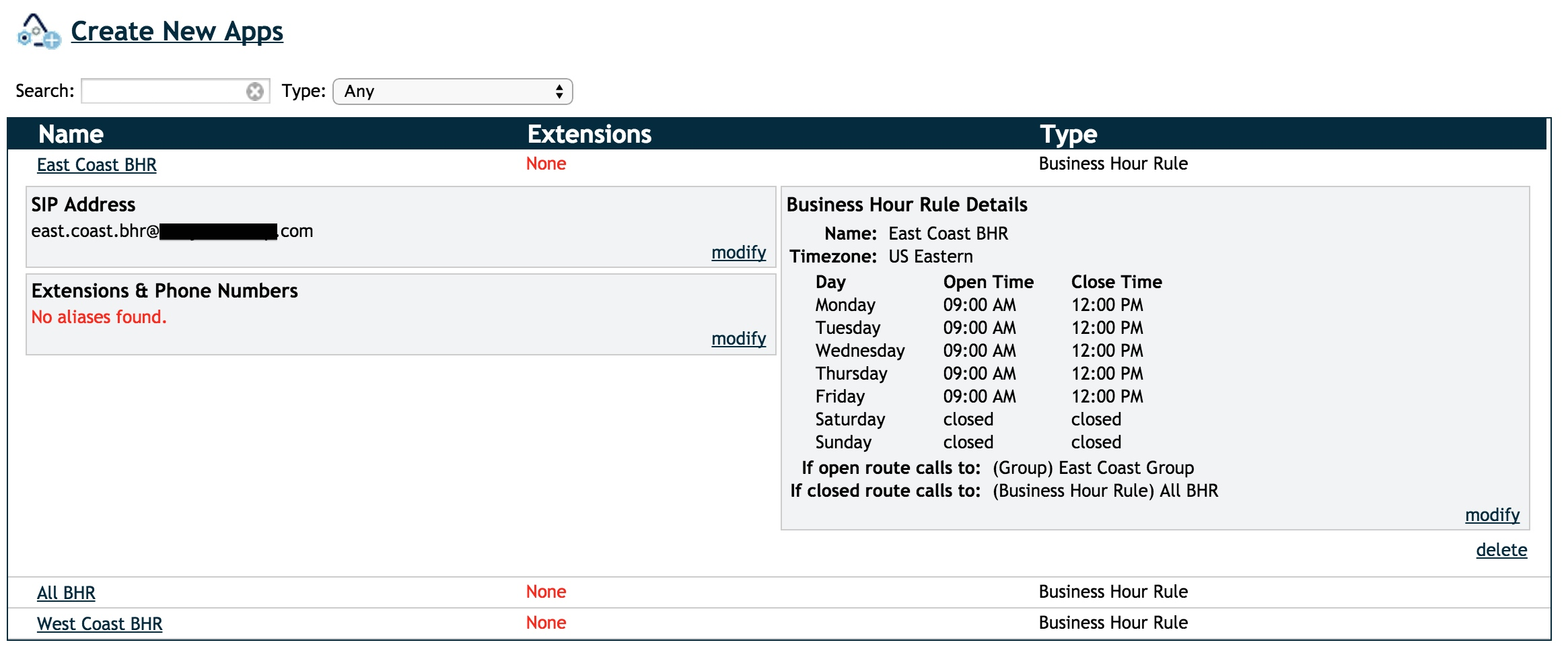 Screenshot showing business hour rule details.