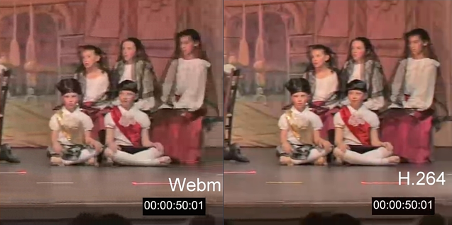VP8 (WebM) vs H.264 codec picture quality