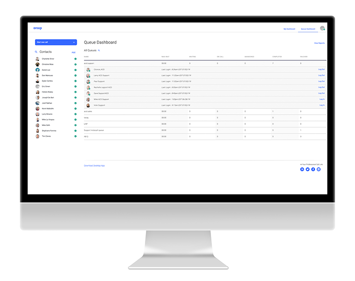 OnSIP's Enhanced Queue dashboard.