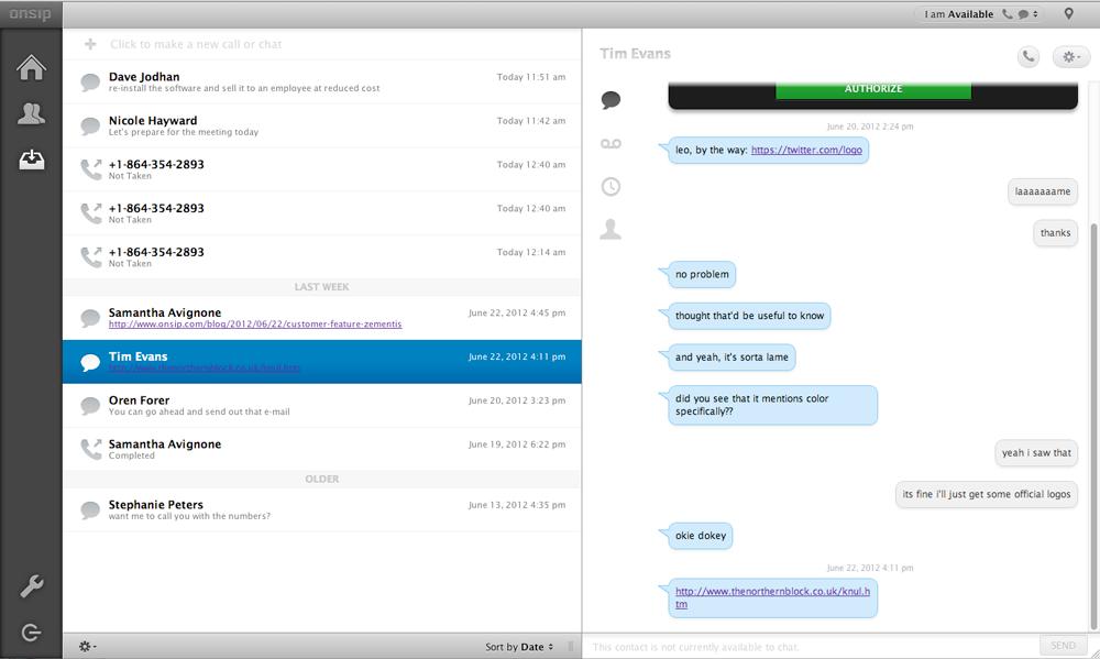 Messaging in my.OnSIP