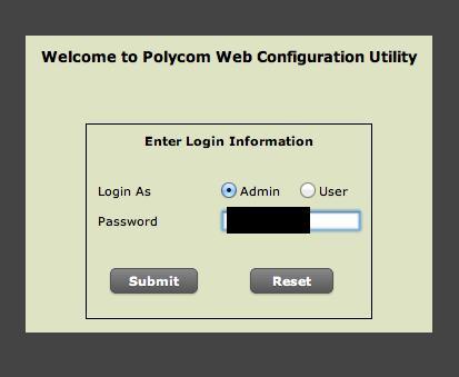 Polycom Web Configuration Utility