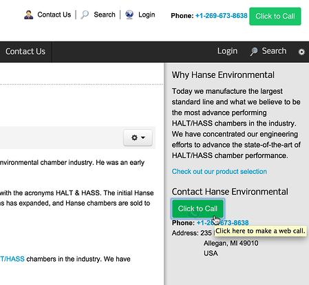OnSIP's InstaCall button on the Hanse Environmental website
