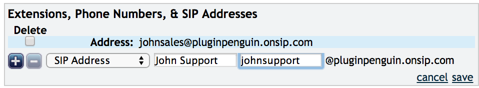 New SIP address in the OnSIP Admin Portal