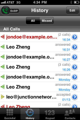 Groundwire Screen Shot - Call History