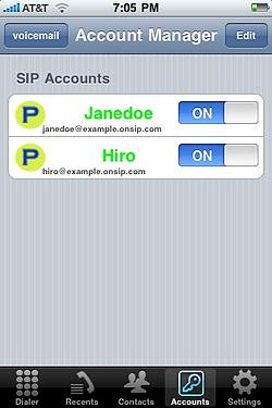 iSIP SIP accounts