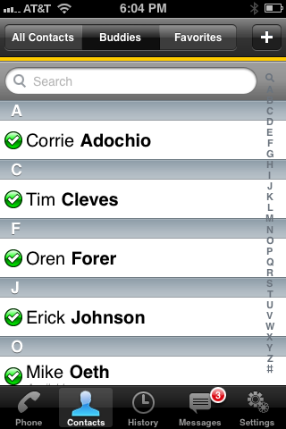 Bria iPhone Contacts