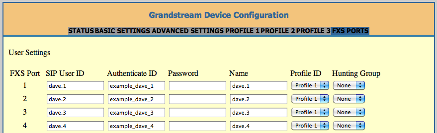 Grandstream GXW FXS port settings