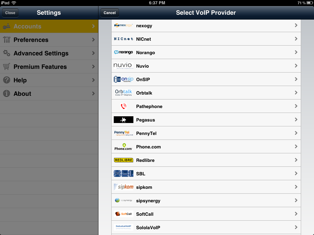 Bria for iPad preconfigured providers