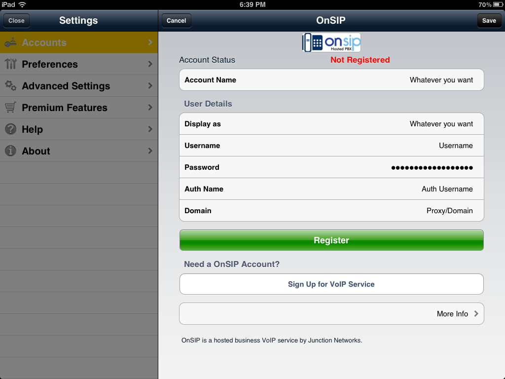 Bria for iPad SIP account