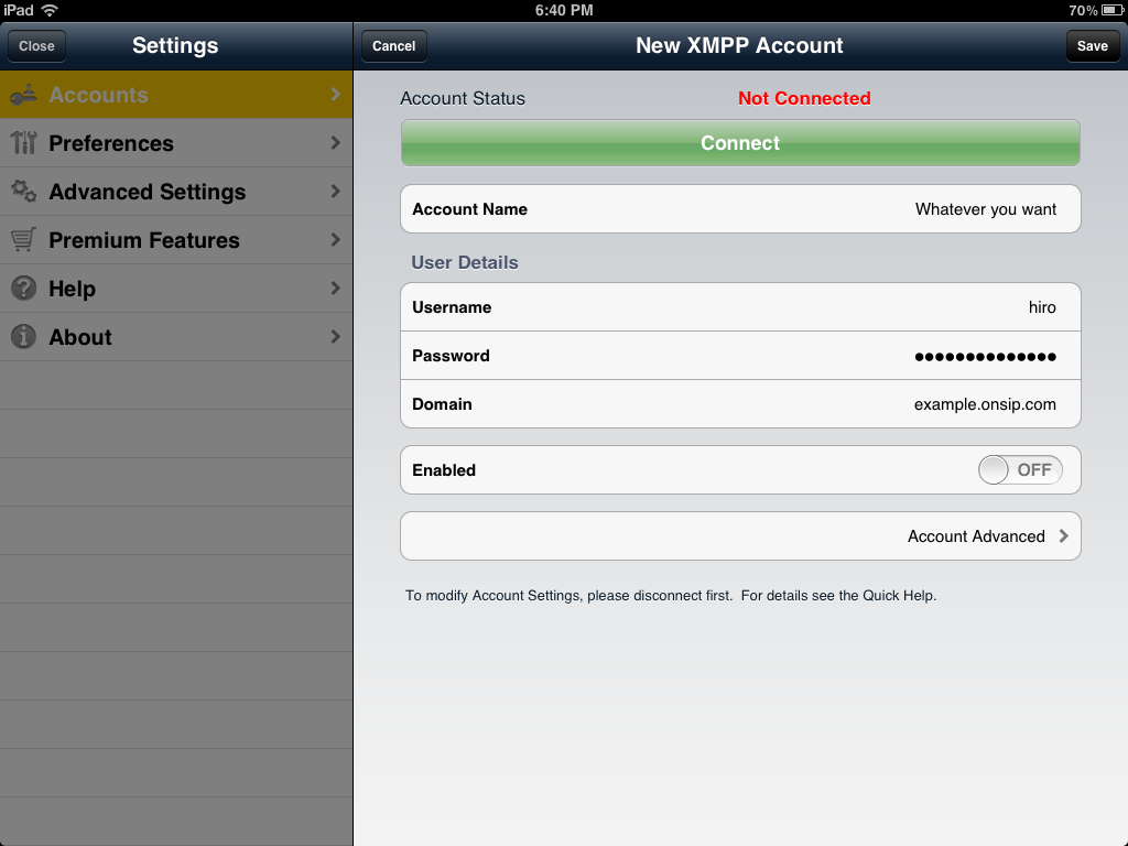 Bria for iPad xmpp account