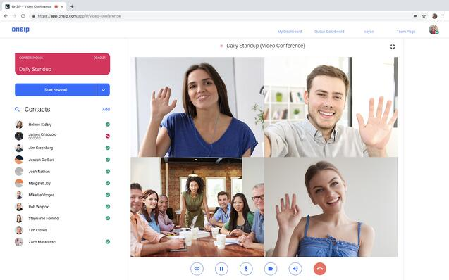4-way video chat in the OnSIP app