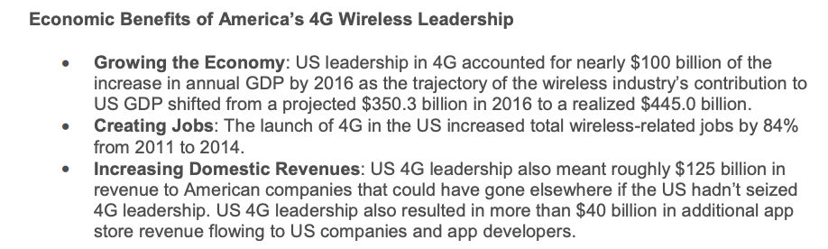 Screenshot showing economics benefits of America's 4G wireless leadership, courtesy of CTIA