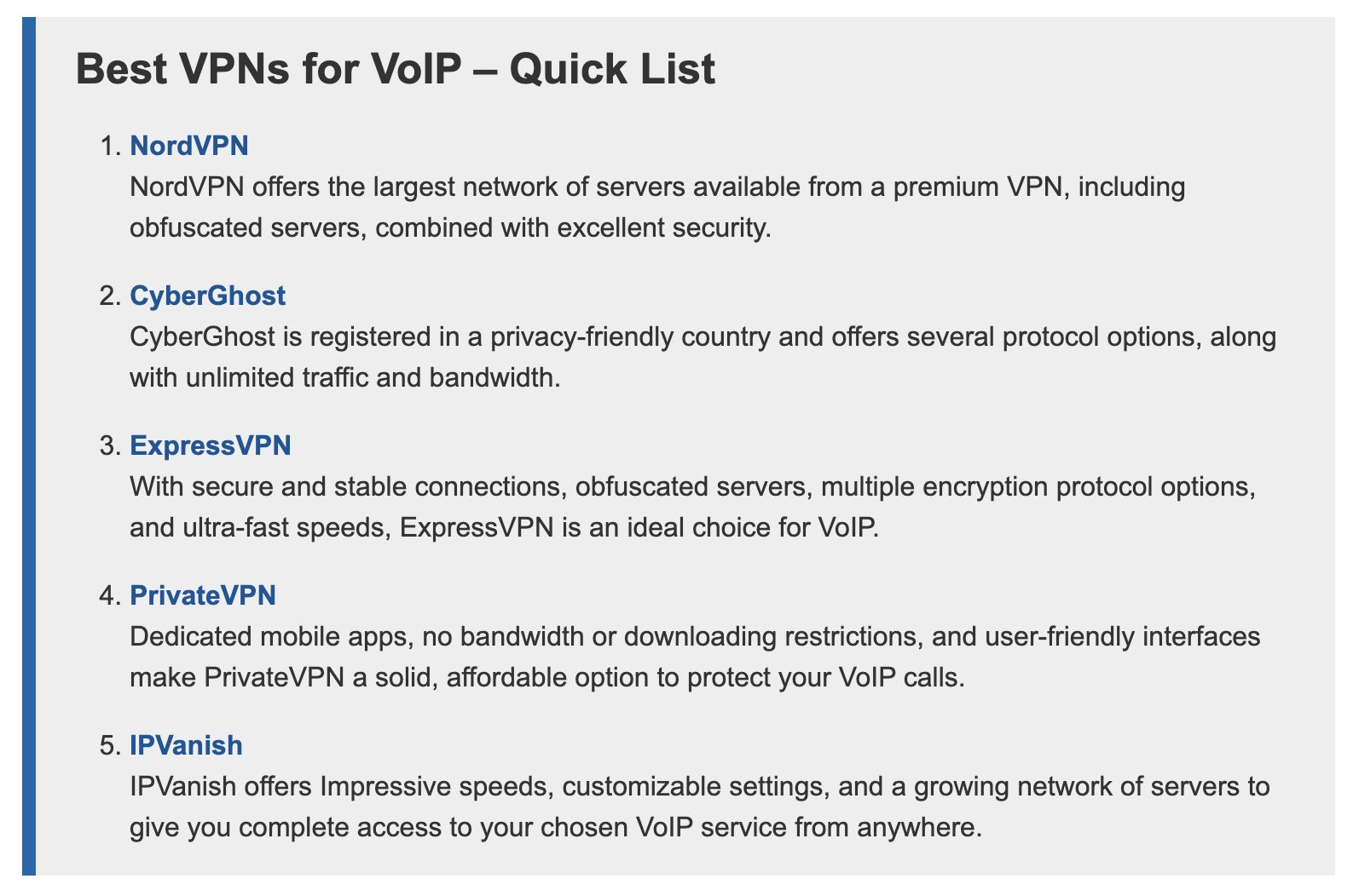 Screenshot of top VPN choices for VoIP.