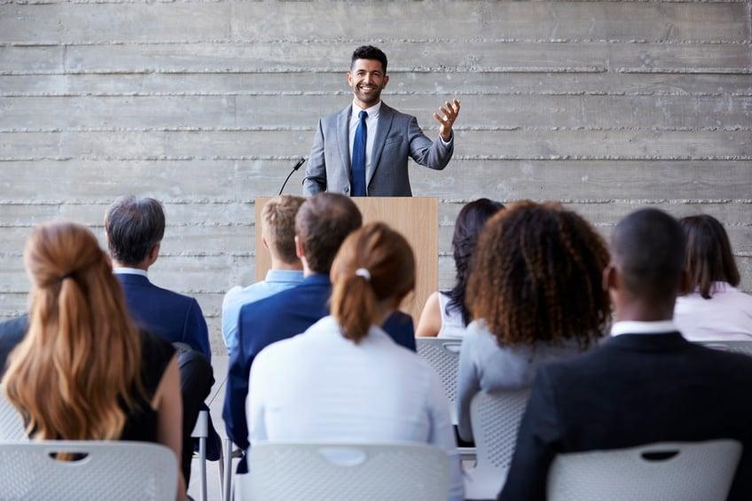 Business leader giving a speech