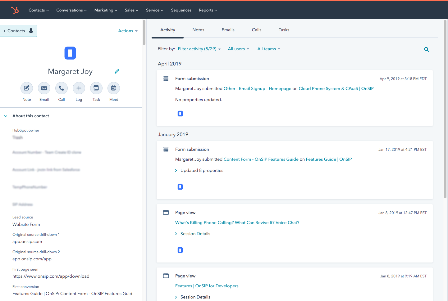 Screenshot showing the full CRM contact record view in HubSpot, linked in the incoming sayso call popup.
