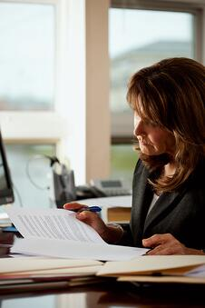 Lawyer reviewing legal documents