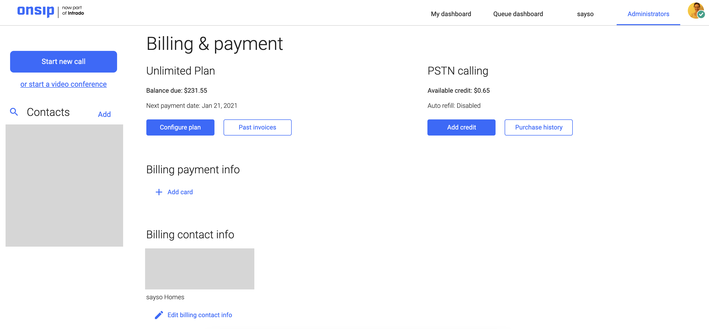 Screenshot of OnSIP billing and payment information in the Admin Portal.