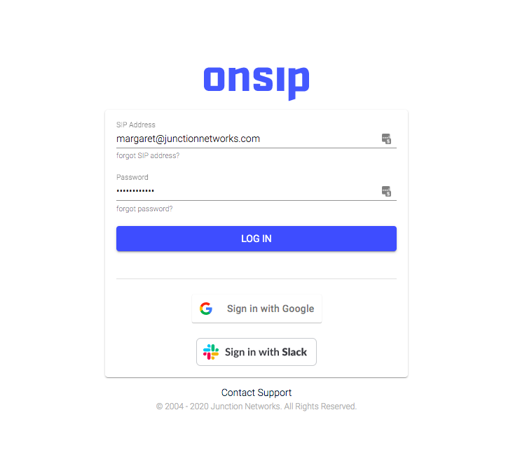 Screenshot of the OnSIP app login page with Slack and Google OAuth options.