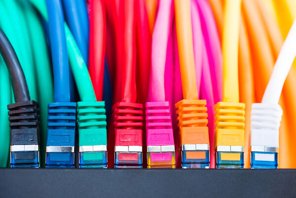 Array of colorful computer phone lines.