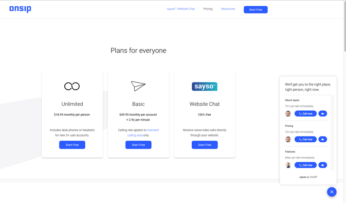 Pricing Page with sayso pop up