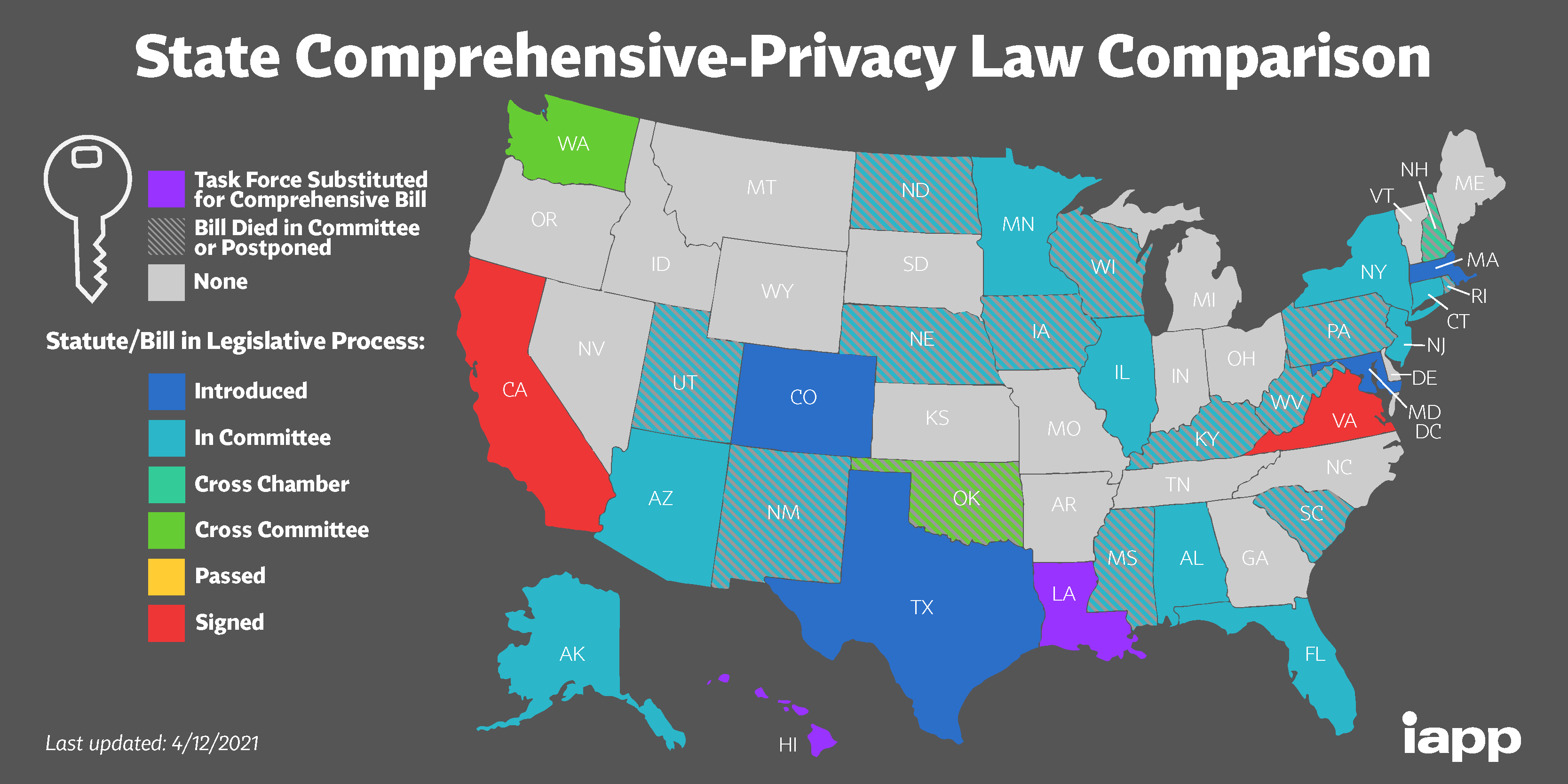 A map of the United States color coded to show which states are working on comprehensive data privacy laws