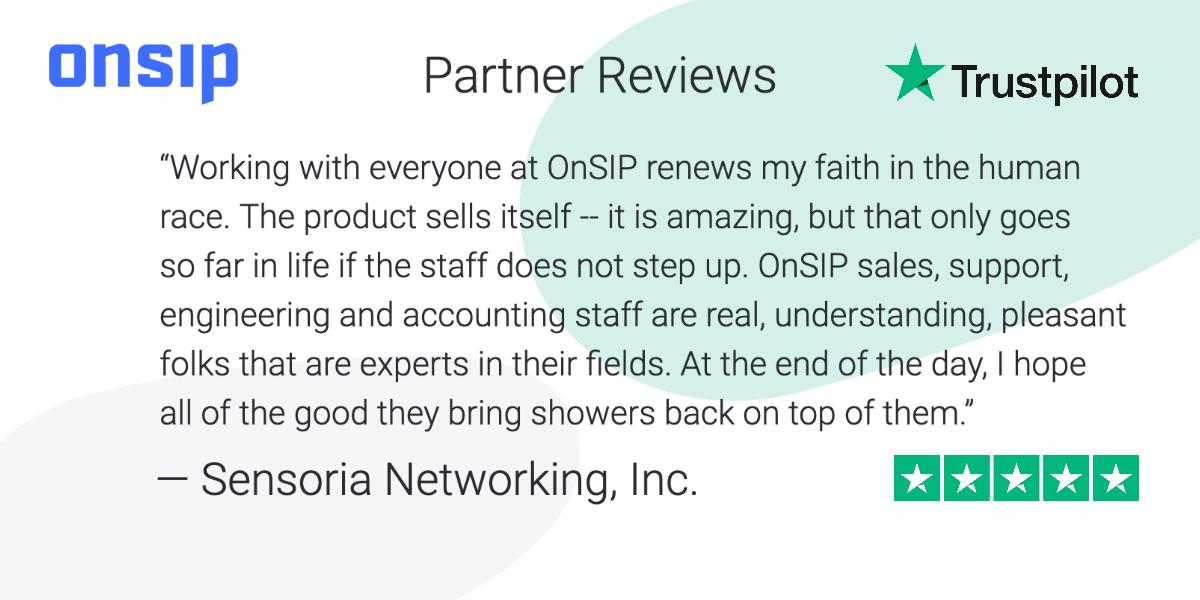 Screenshot of a five-star OnSIP Trustpilot review left by Sensoria Networking, Inc.