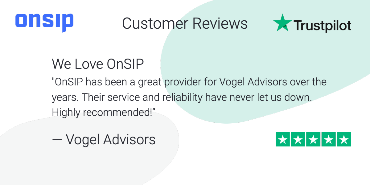 Graphic showing a customer review of OnSIP highlighting our service and reliability