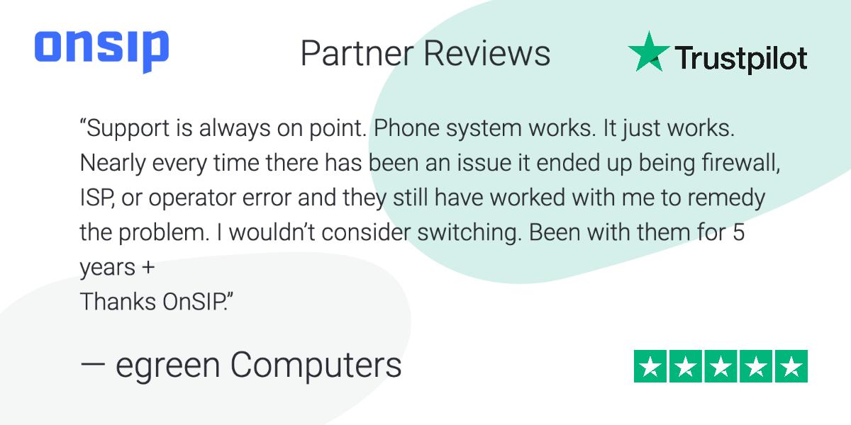 Screenshot of an OnSIP customer review on Trustpilot.