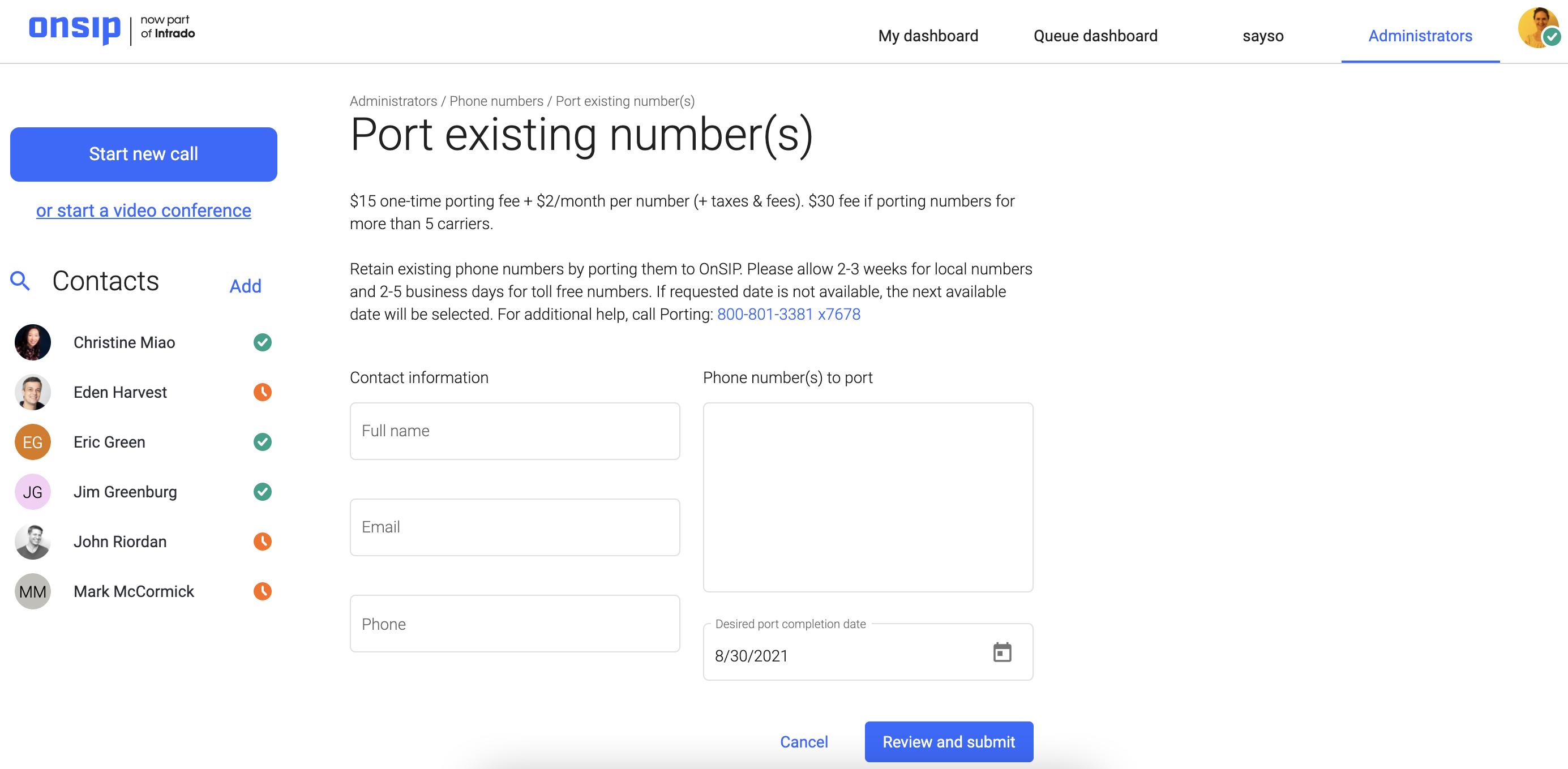 Screenshot of OnSIP's new web app admin portal, porting request.