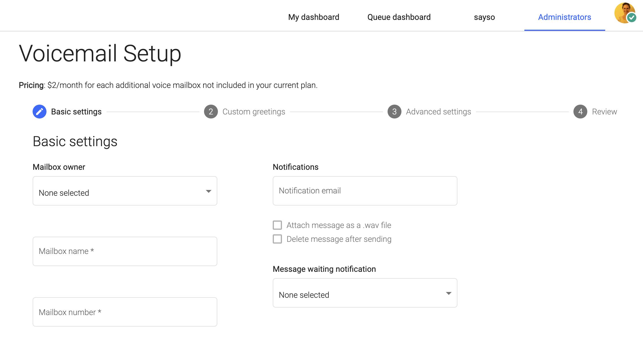 Screenshot of OnSIP's new web app admin portal, voicemail setup