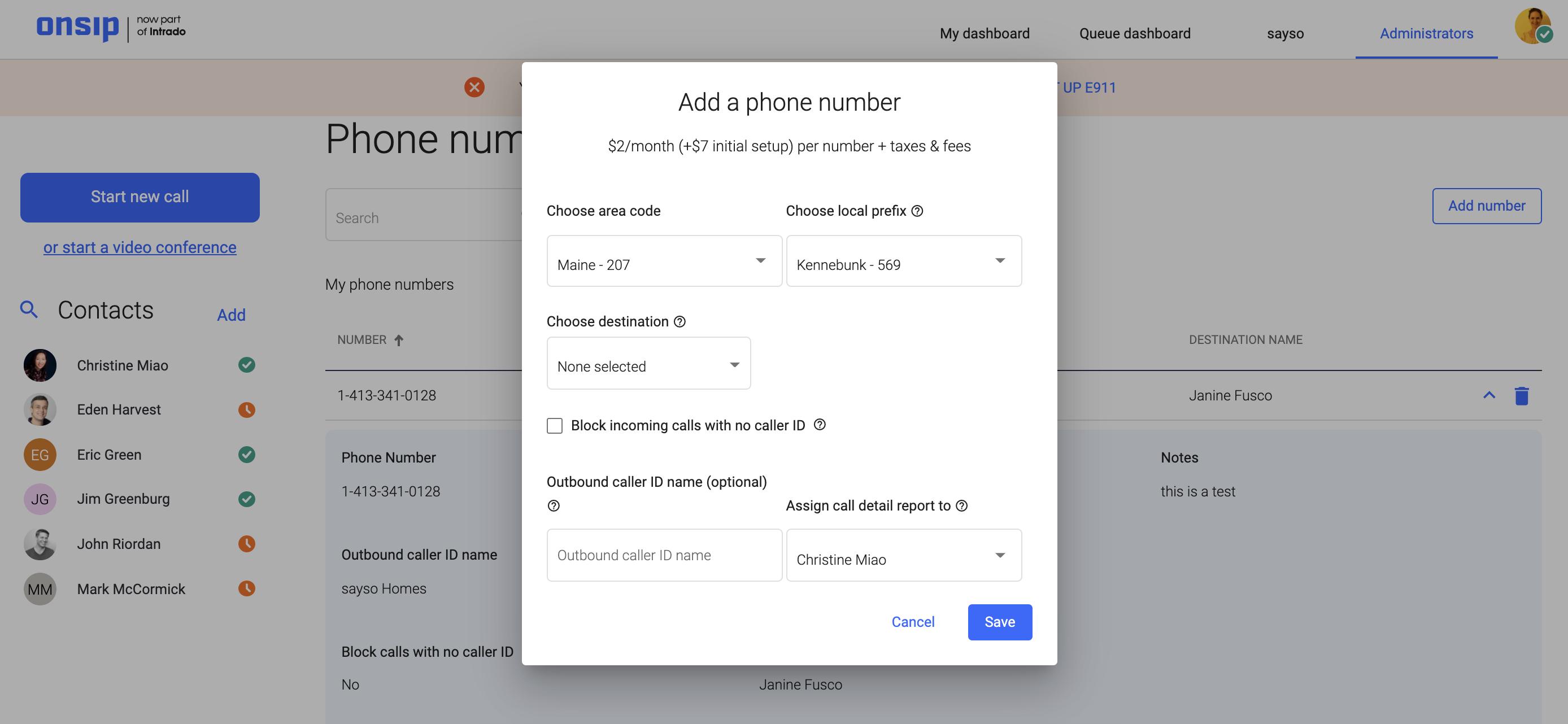Screenshot of OnSIP Screenshot of the OnSIP Admin Portal adding phone number.