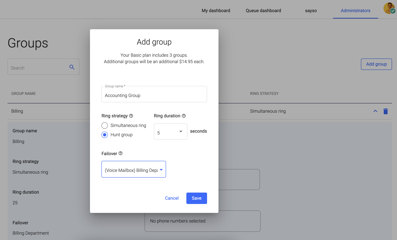 screenshot of admin portal adding ring groups
