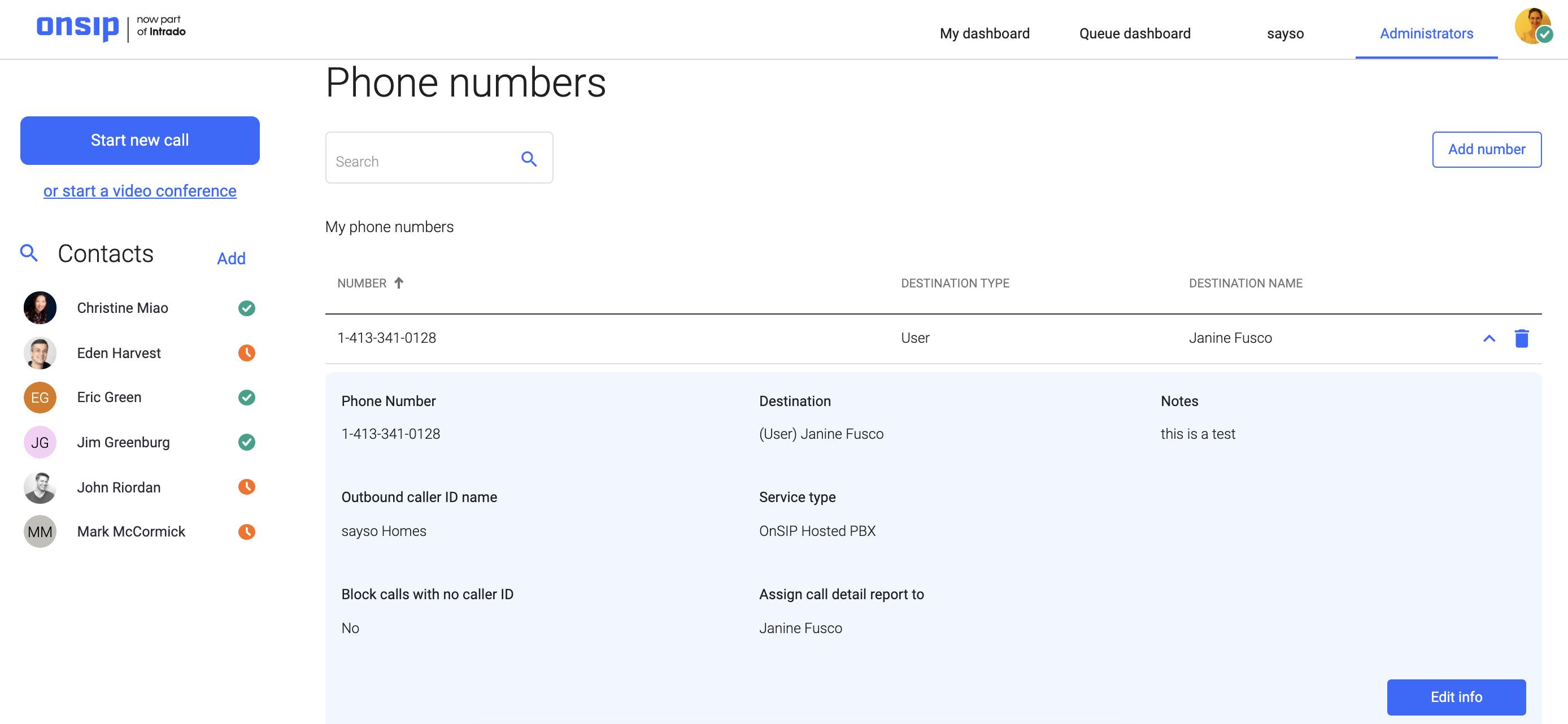Screenshot of OnSIP Admin Portal phone number detail view.