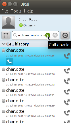 Call history in Jitsi Desktop for Ubuntu