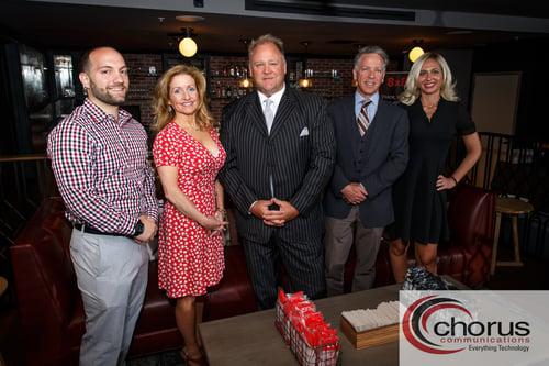 The Chorus Communications team. Left to right: Justin Joy, Amy Servis, Dan Cronin, Robert Molinaro, and Buffy Harakidas.