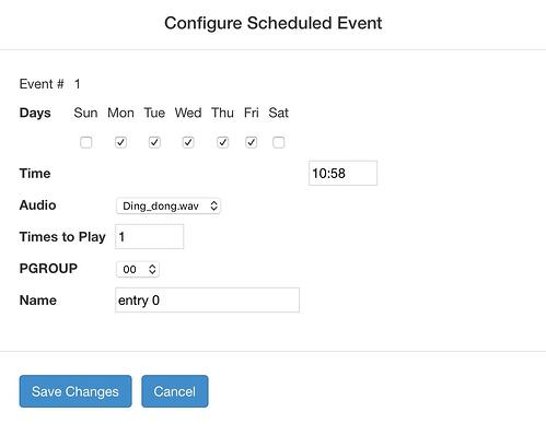 Configure Scheduled Event - Cyberdata SIP Paging Server with Bell Scheduler