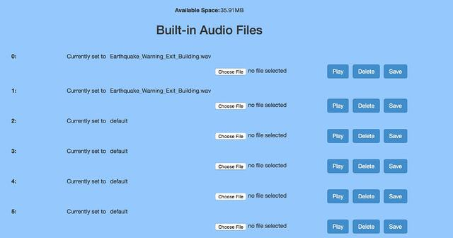 Built-In Audio Files - Cyberdata SIP Paging Server with Bell Scheduler