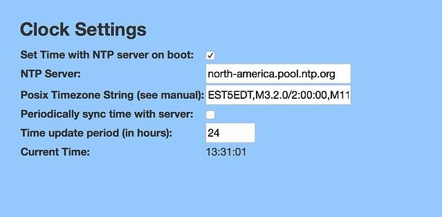 Clock Settings - Cyberdata SIP Paging Server with Bell Scheduler