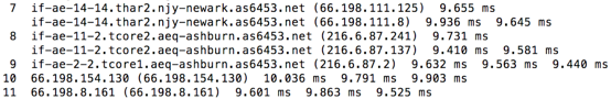 Traceroute report showing hops