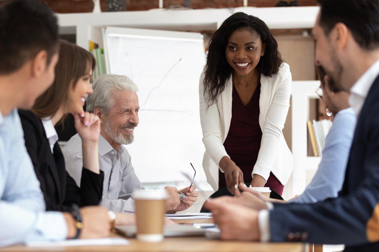 Sales and marketing teams strategizing account-based marketing.