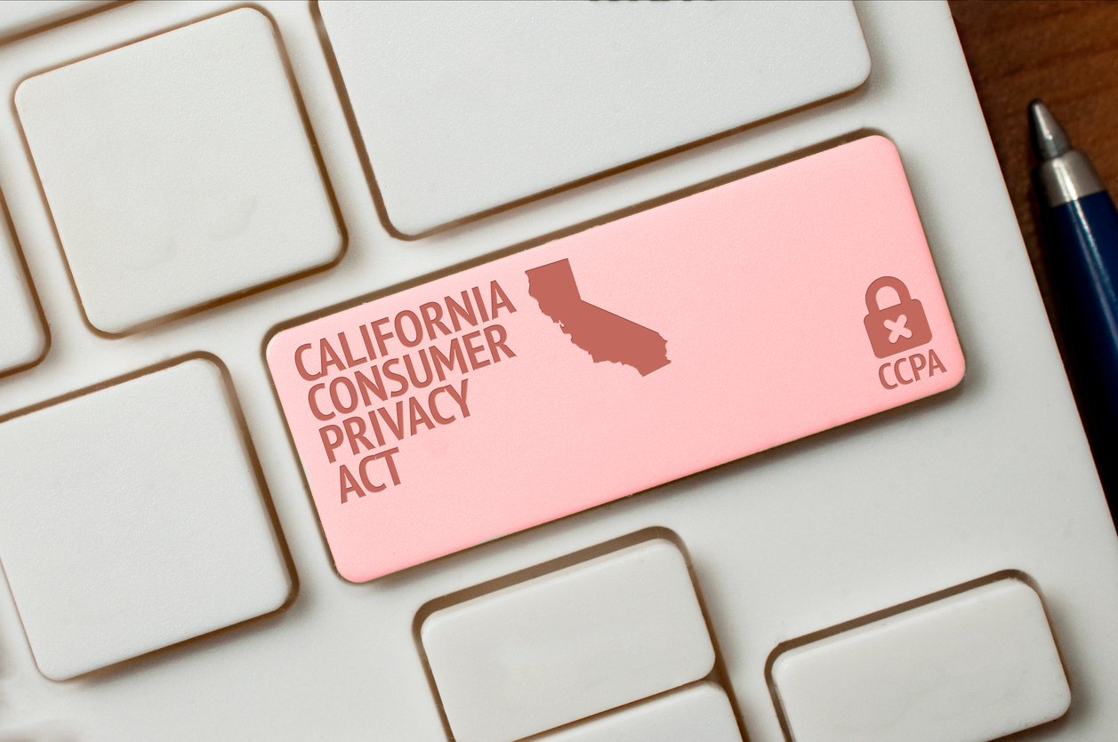 "Photo showing the ""Return"" key on a keyboard in red with CCPA and the state of California."