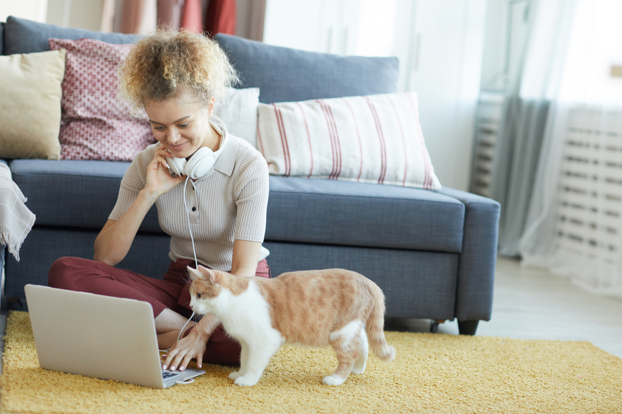 A young woman works comfortably from home with her cat nearby.