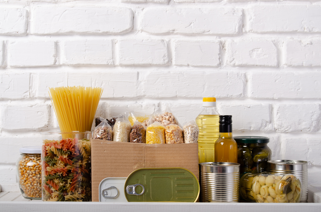 Non-perishable emergency pantry supplies.