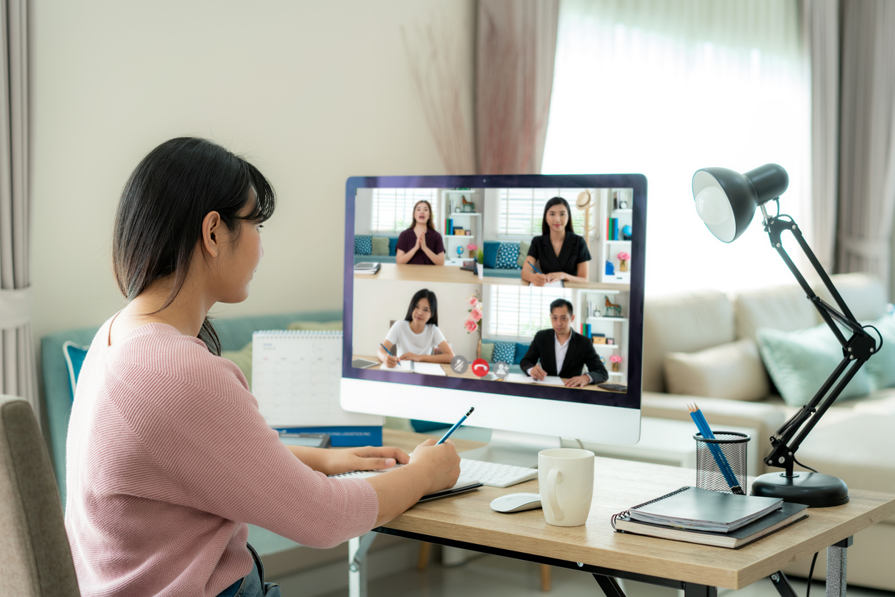 Remote worker on a video conference call.