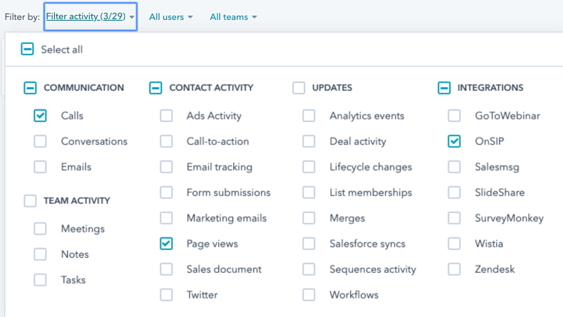 Screenshot showing HubSpot contact record filters.