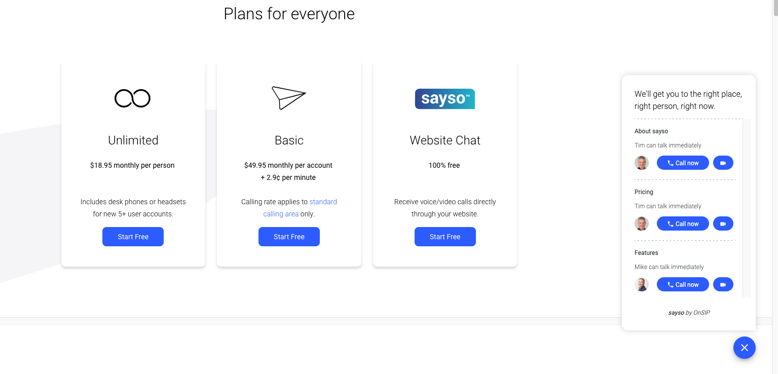 Screenshot showing sayso pricing page and sayso call panel with topics and reps.